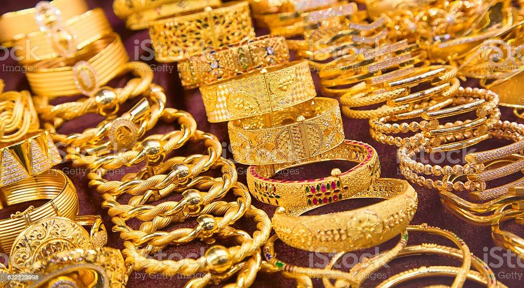Golden market in Dubai stock photo