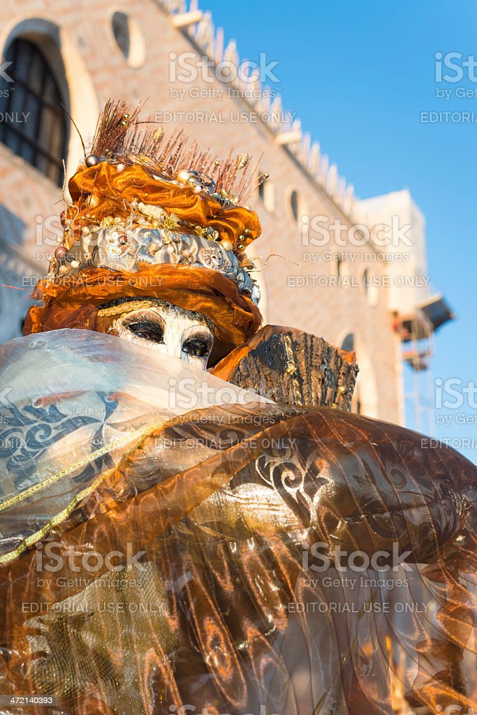 Golden Mask at 2013 Venice Carnival, Italy, Europe royalty-free stock photo