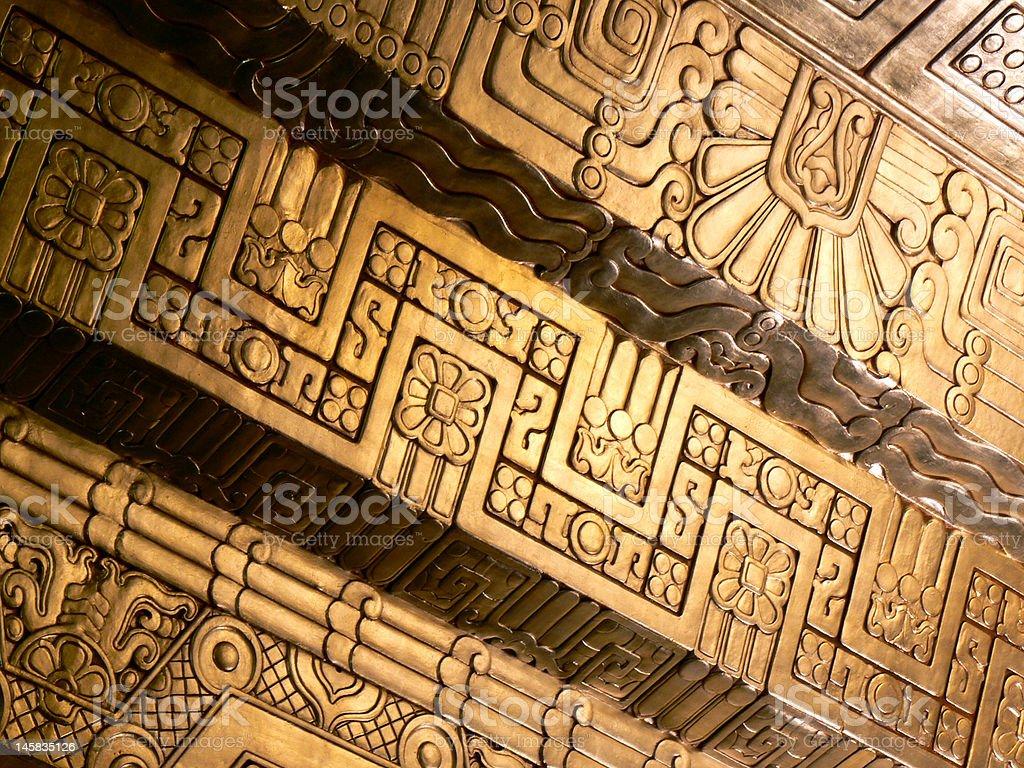 Golden Mayan Ceiling stock photo