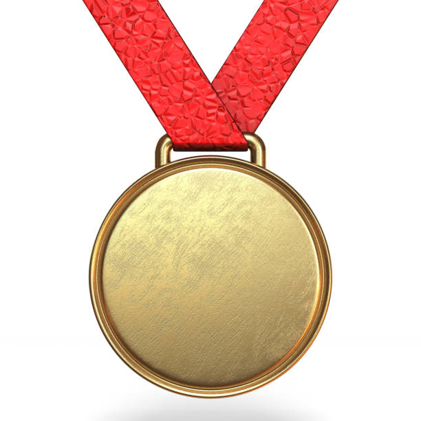 Golden medal 3D Golden medal 3D rendering illustration isolated on white background medal stock pictures, royalty-free photos & images
