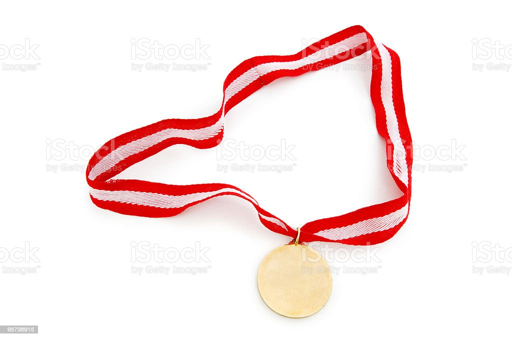 Golden medal isolated on the white background royalty-free stock photo