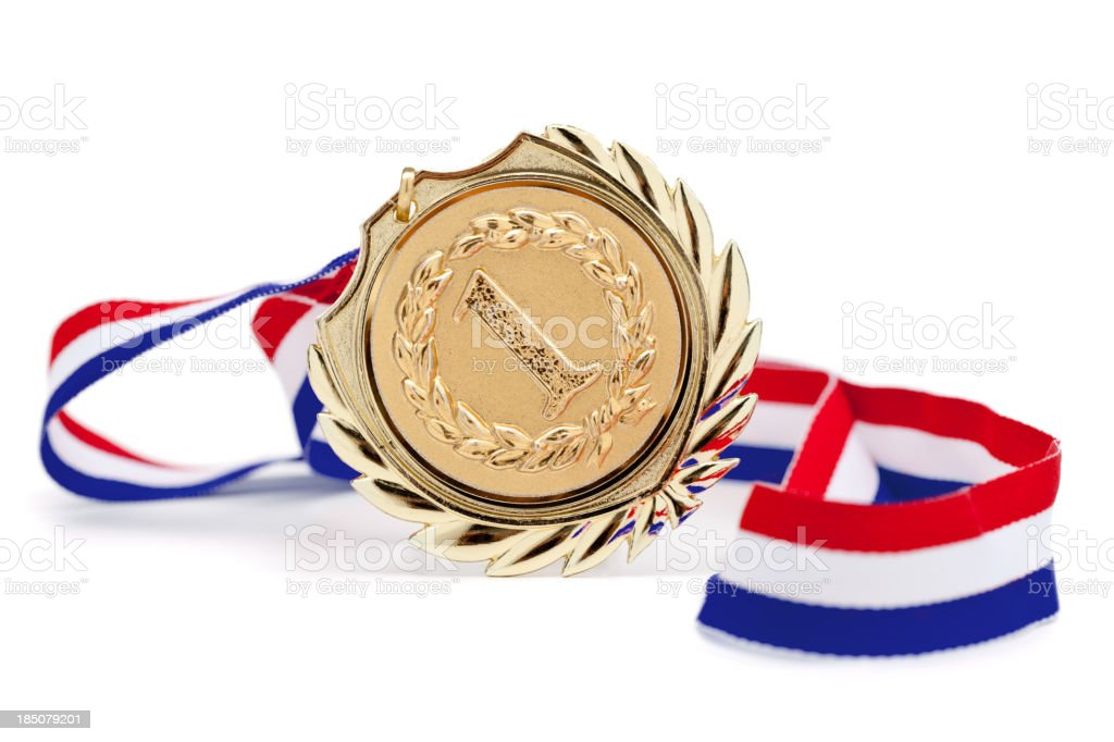 golden medal isolated on white stock photo