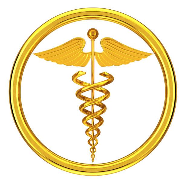 golden medical caduceus symbol. 3d rendering - caduceus stock photos and pictures