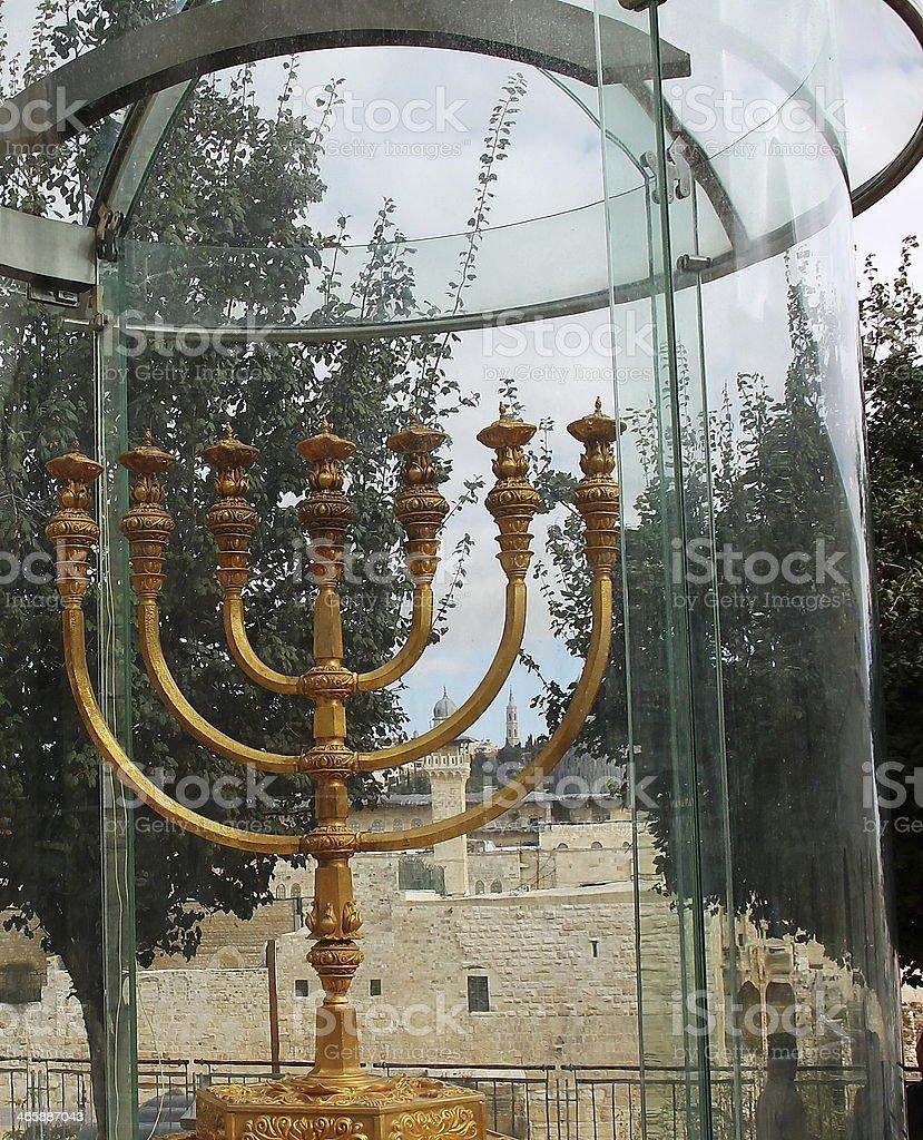 Golden Menorah in Jerusalem royalty-free stock photo
