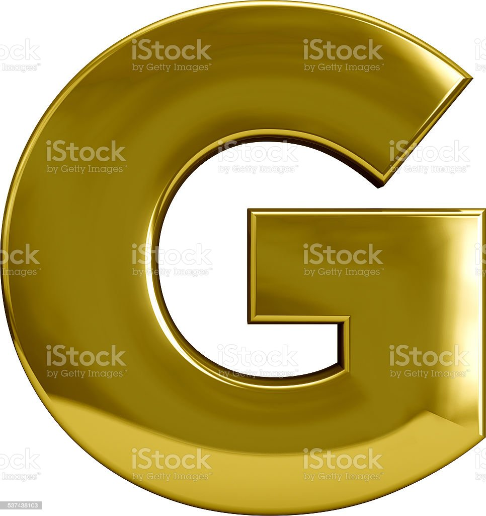 Golden Metal Letter G stock photo