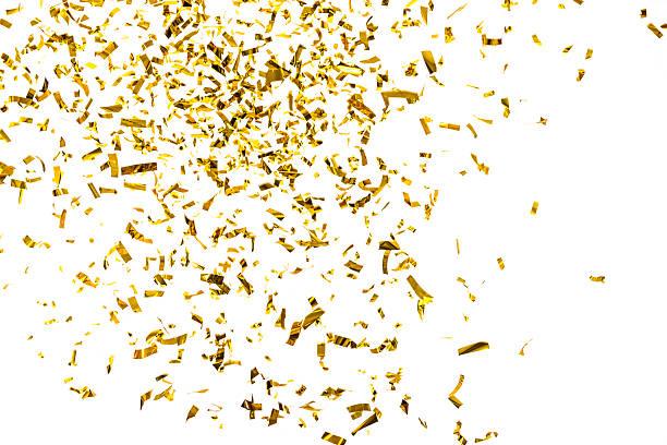 golden metallizzato coriandoli cadendo, isolato su sfondo bianco - coriandoli e stelle filanti foto e immagini stock