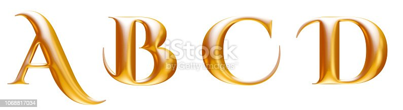 istock Golden metallic decorative alphabet, letters A B C D, 3d illustration 1068817034