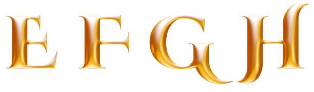 Golden metallic decorative alphabet, letters E F G H, 3d illustration stock photo