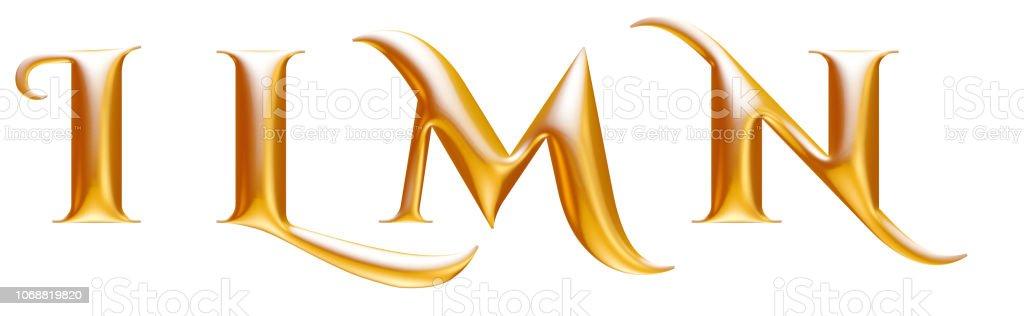 Golden metallic decorative alphabet, letters I L M N, 3d illustration stock photo
