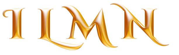 goldene metall dekorative alphabet buchstaben i l m n, 3d illustration - 3d typografie stock-fotos und bilder