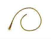 Golden metallic rope isolatedon white