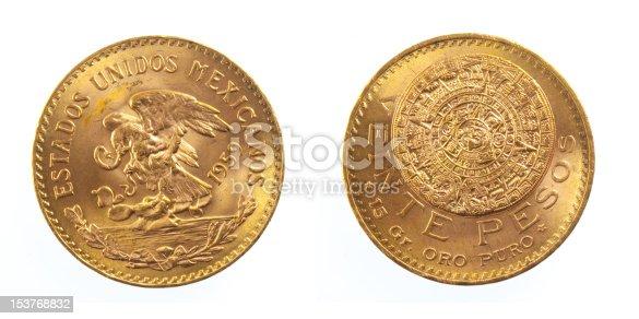 Golden Mexican 20 peso coin