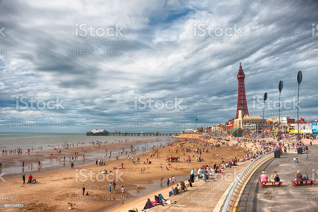 Golden Mile and Blackpool Tower stock photo