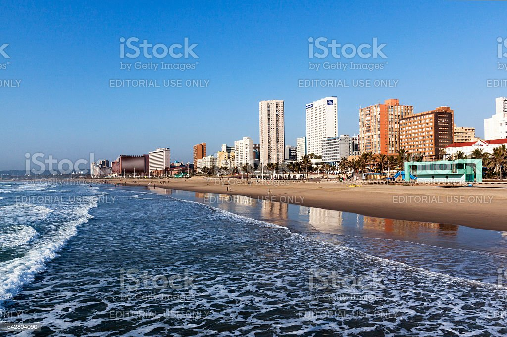 Golden Mile City Skyline in Durban South Africa stock photo