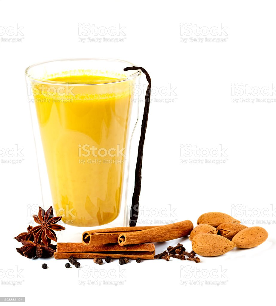 Golden Milk with Spices stock photo