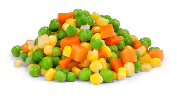 Golden mix Fresh mixed vegetables  on white. sweetcorn stock pictures, royalty-free photos & images