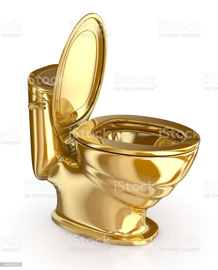 Golden modern toilet with the lid open. 3d illustration stock photo