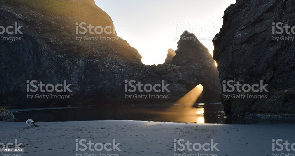 golden moments between fog and rocks stock photo
