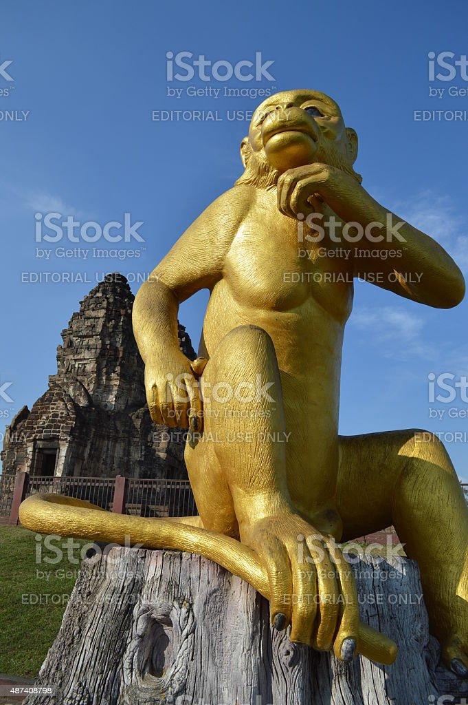Golden Monkey Sculpture at Pra Prang Sam Yot stock photo