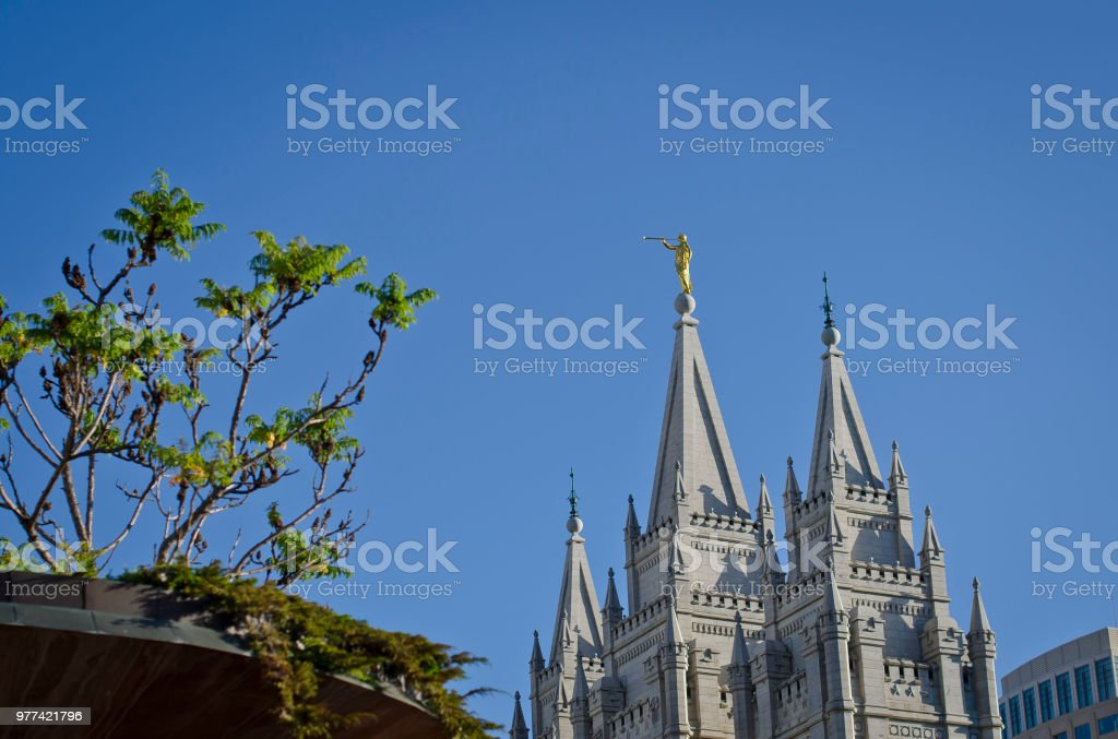 Golden Moroni facing the east stock photo
