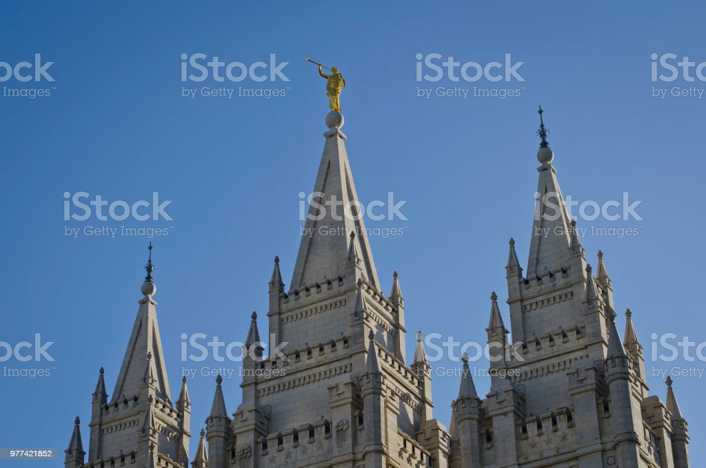 Golden Moroni in the blue sky stock photo
