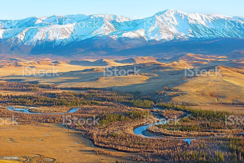 Golden Mountains of Altai, Kurai steppe stock photo