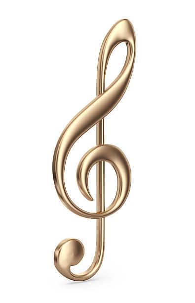 de música dourado 3d isolado observação. ícone - desenhos de notas musicais - fotografias e filmes do acervo
