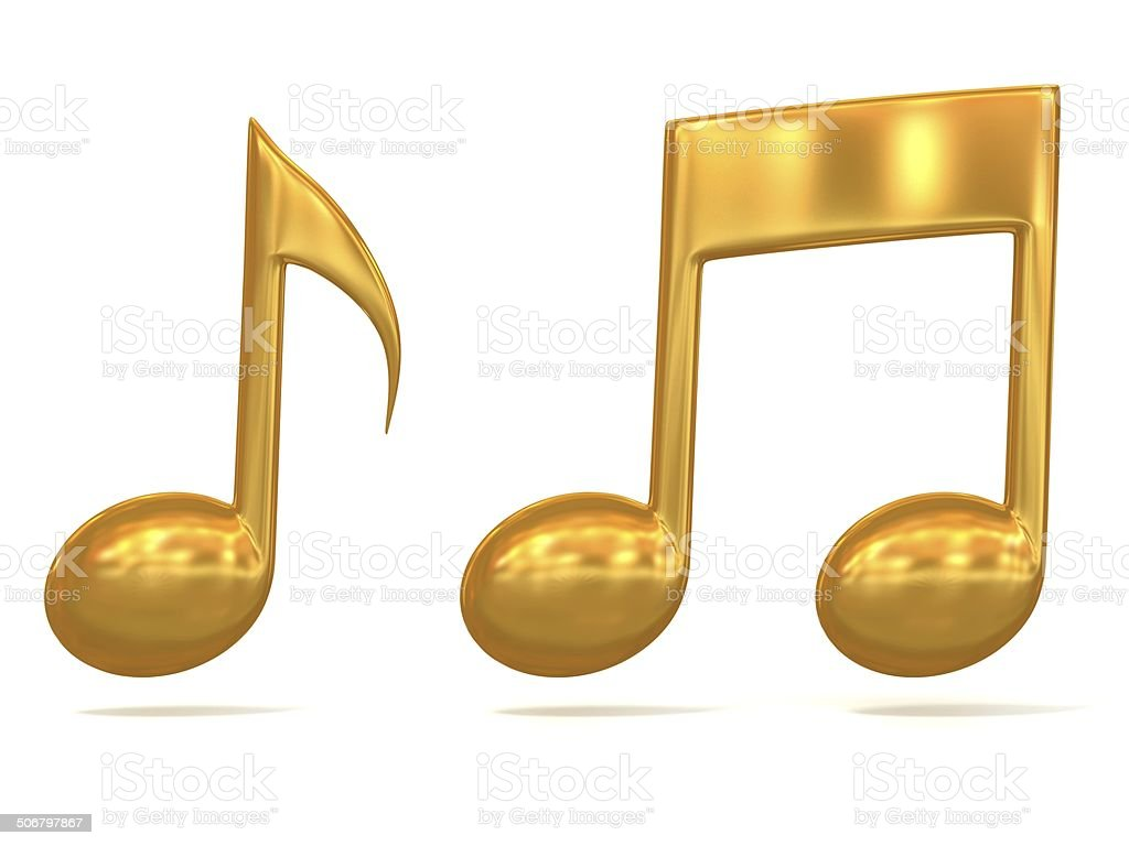 golden music notes 3d icons stock photo