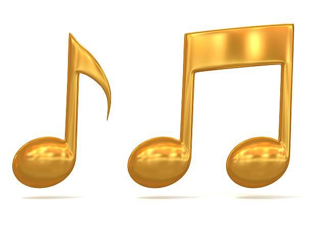 notas de música dourado 3d ícones - desenhos de notas musicais - fotografias e filmes do acervo