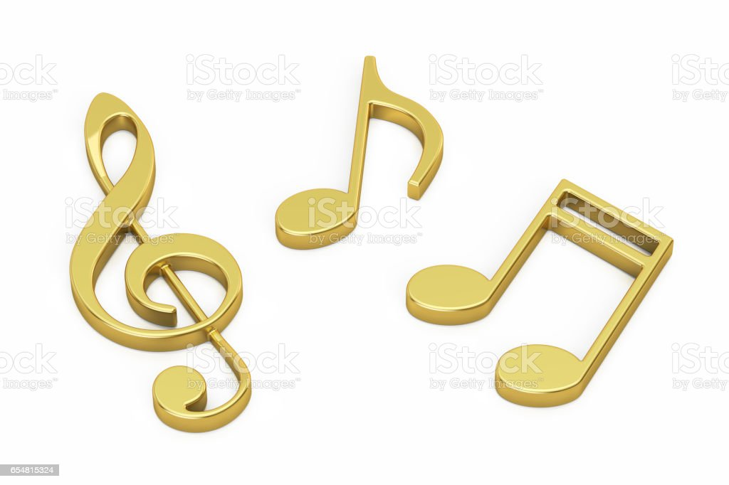 Golden Music Notes, 3D rendering isolated on white background stock photo