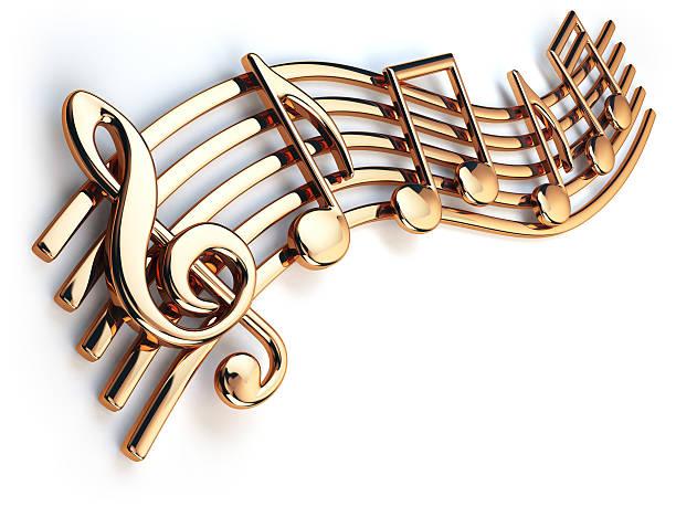 golden music notes and treble clef on musical strings - note de musique photos et images de collection