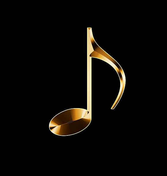 golden nota musical em um fundo preto - desenhos de notas musicais - fotografias e filmes do acervo