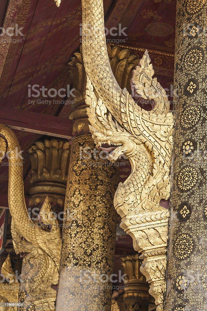 Golden Naga on the Laos chapel royalty-free stock photo