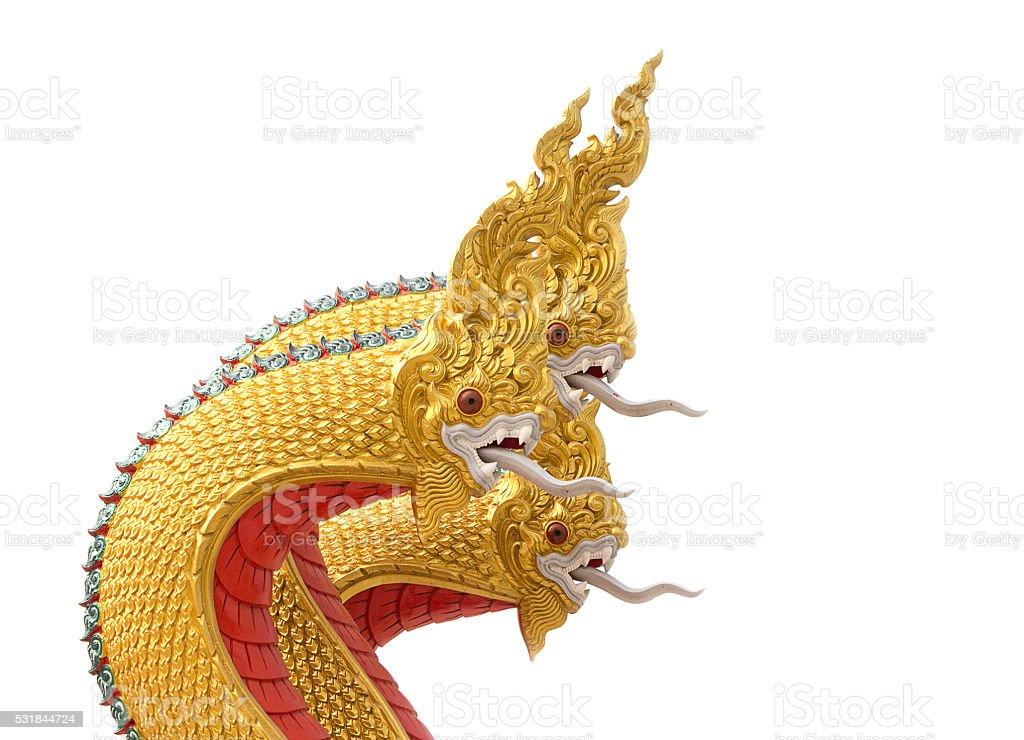 Golden Naga statue stock photo