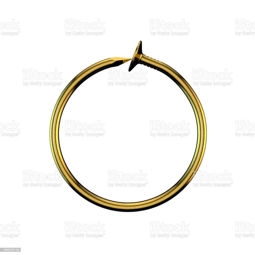 Ongles d'or. Cadre de cercle. Isolé sur fond blanc. Illustration de rendu 3D. - Photo de Aspect métallique libre de droits