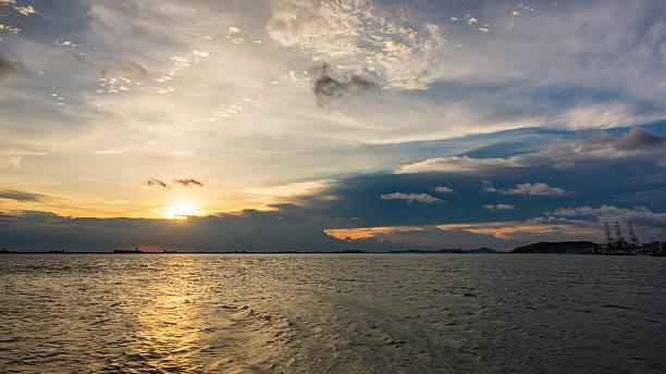 Golden natural sea sunset stock photo