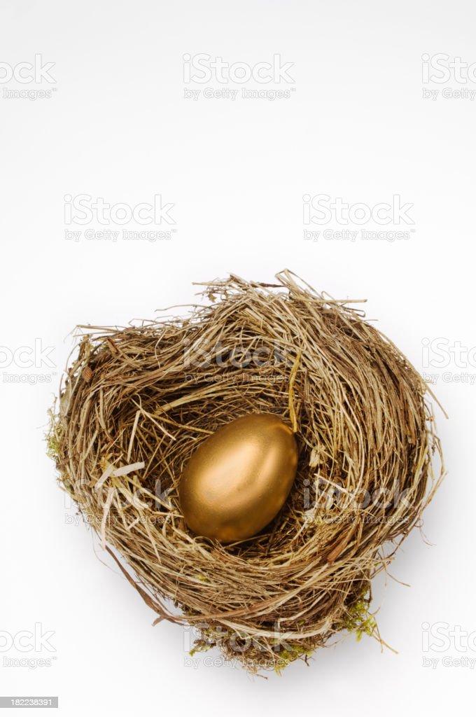 Golden Nest Egg For Retirement Pension White Background stock photo