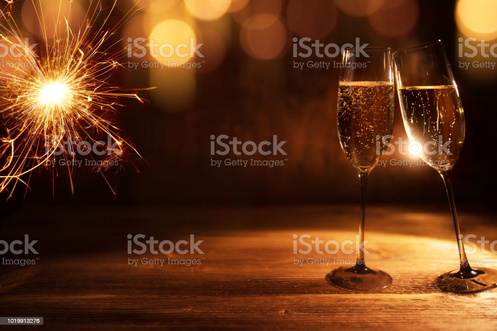 golden new year background with champagne royalty free stock photo