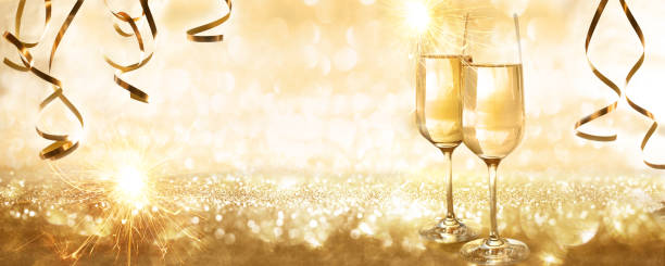 Golden new years eve background stock photo