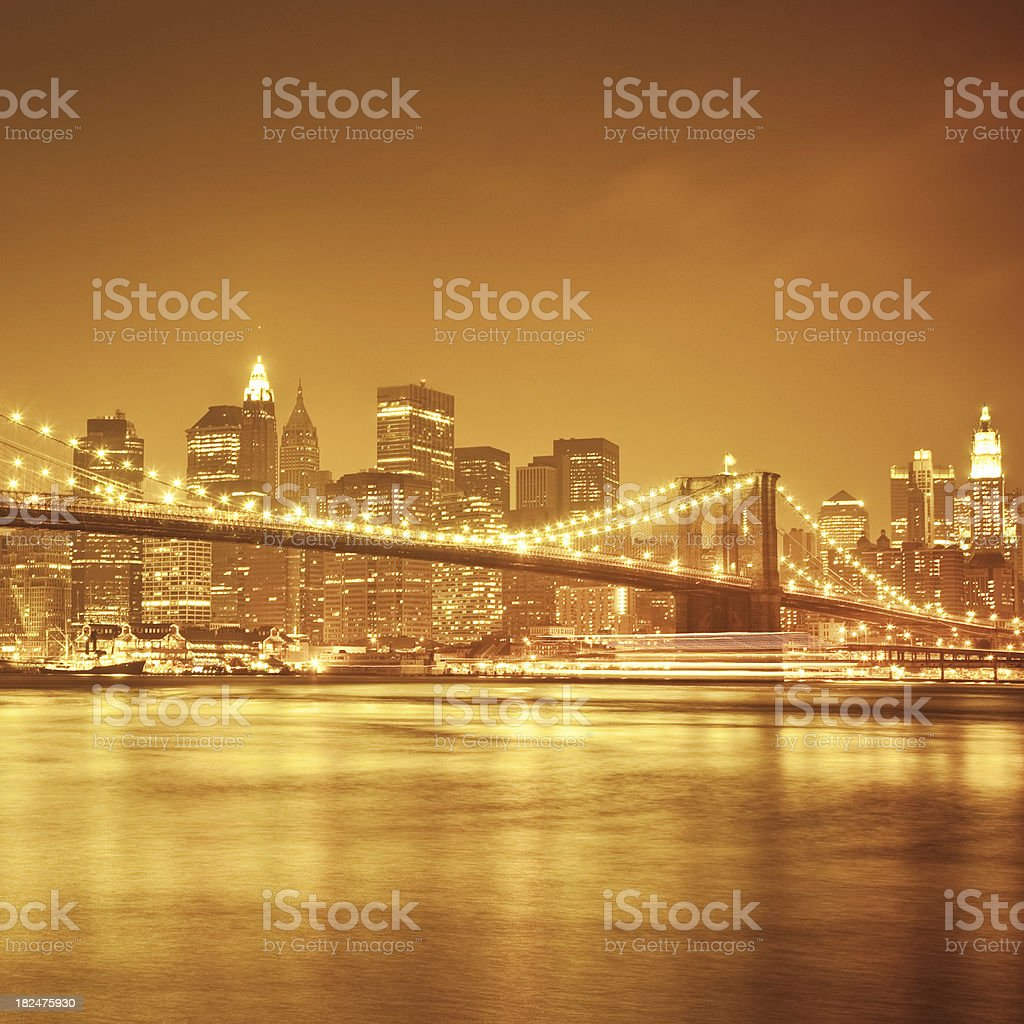 golden New York City stock photo