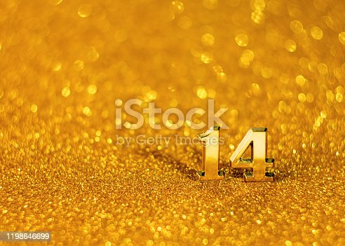 istock Golden not sharp background with bokeh for St. Valentine's Day. The 14th of February 1198646699