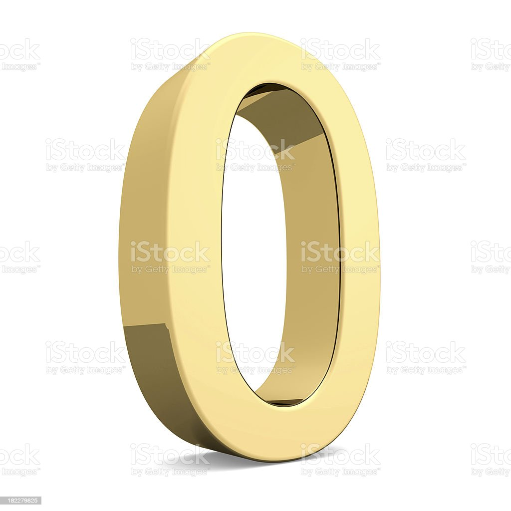 Golden number 0 royalty-free stock photo