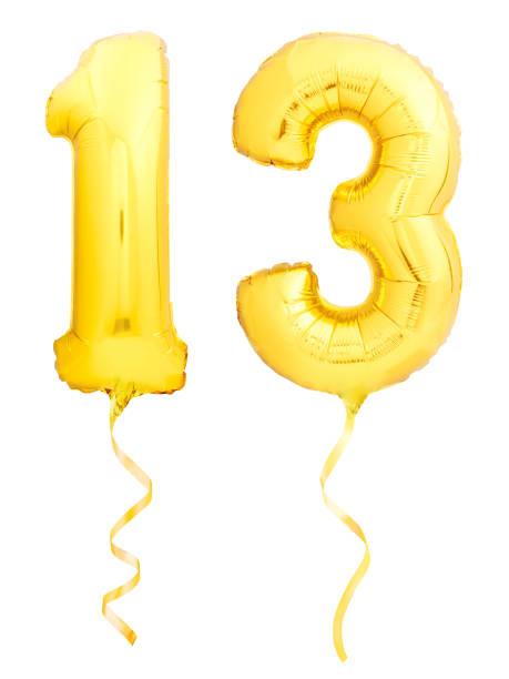 golden nummer 1 aus aufblasbaren balloon - number 13 stock-fotos und bilder