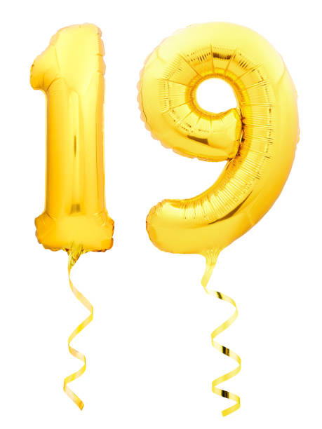 golden number 1 made of inflatable balloon - number 19 stock photos and pictures