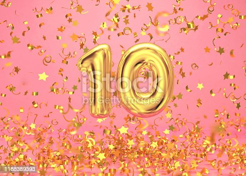 istock Golden number 10 with confetti falling on pink background 1188389393