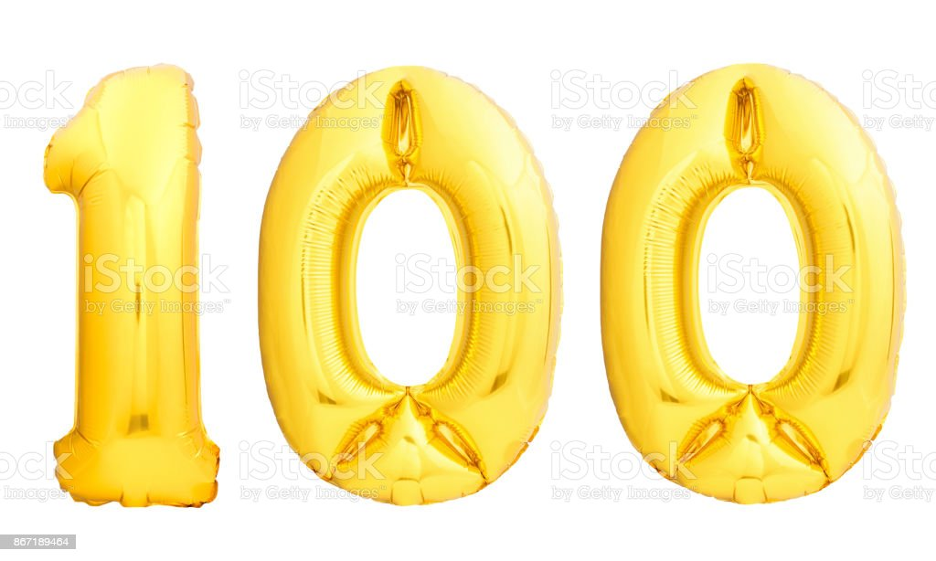 Golden number 100 one hundred made of inflatable balloon stock photo