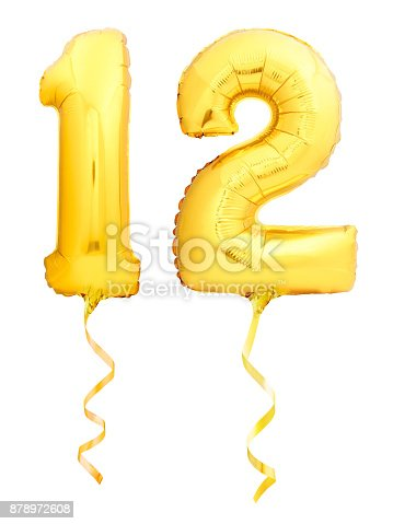 927069242 istock photo Golden number 12 twelve made of inflatable balloon with golden ribbon on white 878972608