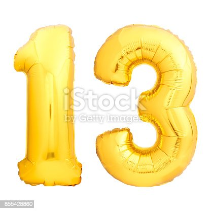 927069242 istock photo Golden number 13 made of inflatable balloon 855428860
