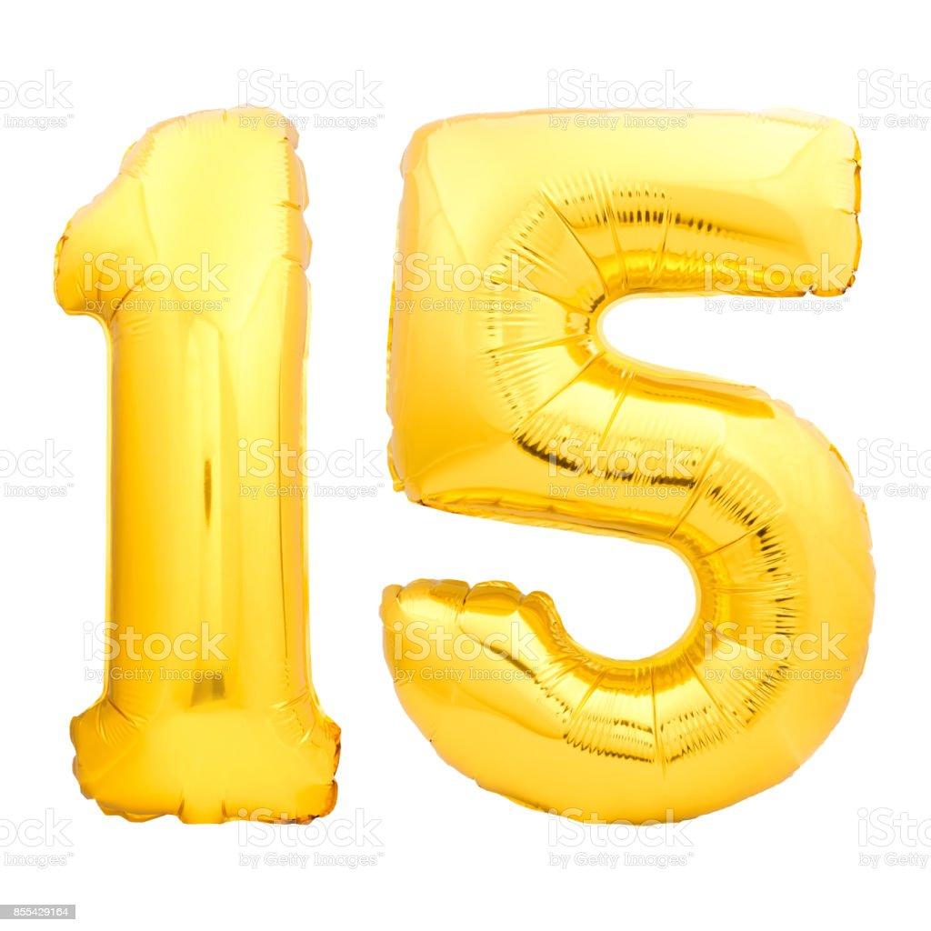 Goldene Zahl 15 gemacht fünfzehn der aufblasbaren Ballon – Foto