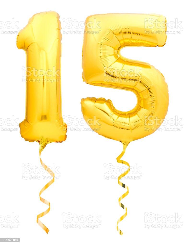 Goldene Zahl 15 fünfzehn der aufblasbaren Ballon mit Multifunktionsleiste isoliert auf weiss gemacht – Foto